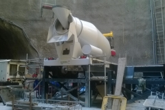 Cement Mixer at tunnel floor